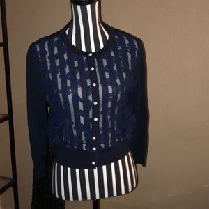 Karl Lagerfeld Shear Blue Flower Appliqué Cardigan